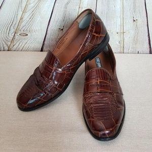 Stacey Adams Genuine Snake Skin Dress Shoes Brown